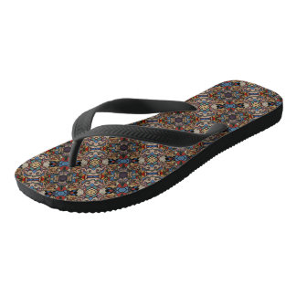 Abstract Floral Pattern Flip Flops