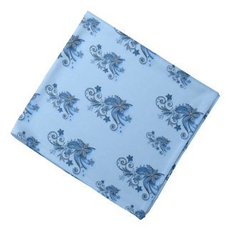 Abstract floral pattern, flowers on blue asymetric bandana