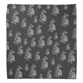 Abstract floral pattern, gray flowers on black bandana