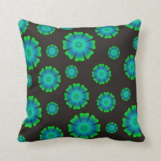 Abstract Floral Pattern - Green Flowers On Black Pillow