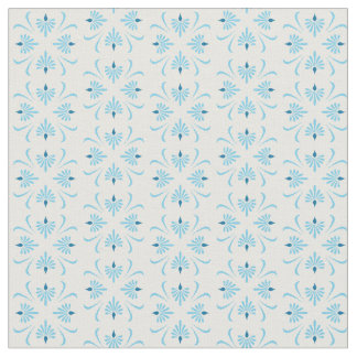 Abstract floral pattern in pale blue and white fabric