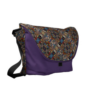 Abstract Floral Pattern On Purple Commuter Bags