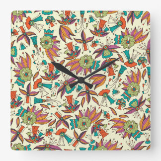 abstract floral pattern Square Wall Clock design