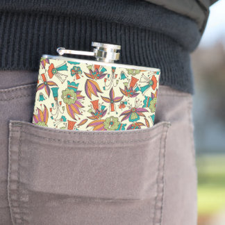 abstract floral pattern Vinyl Wrapped Flask design