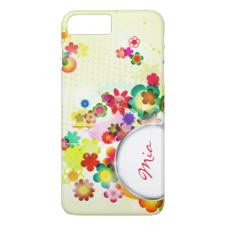 abstract floral pattern with frame for name iPhone 7 plus case