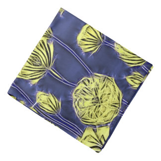 Abstract floral pattern, yellow flowers on blue bandana
