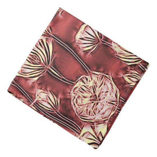 Abstract floral pattern, yellow flowers on red v2 bandannas