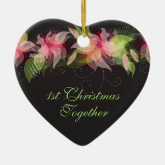 Abstract Floral Personalized Christmas Ornament