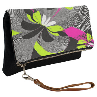 Abstract Floral Print Clutch