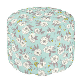 Abstract Floral Print Pouf