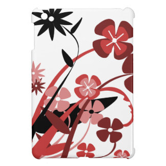 Abstract Floral red pink black iPad Mini Cases