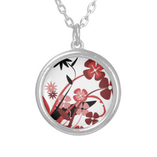 Abstract Floral red pink black Jewelry