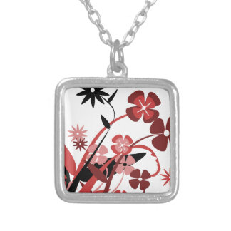 Abstract Floral red pink black Pendants