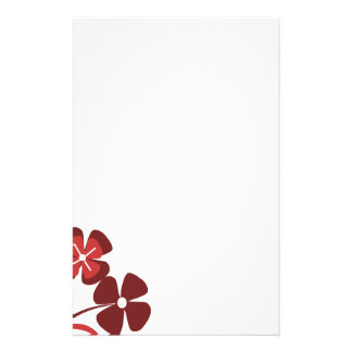Abstract Floral red pink black Personalized Stationery