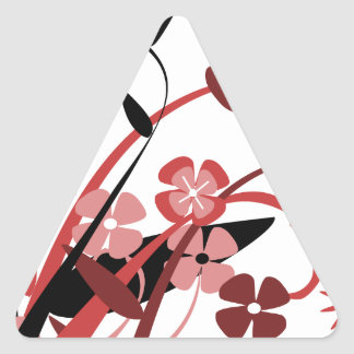 Abstract Floral red pink black Triangle Stickers
