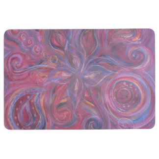 abstract floral red purple floor mat