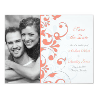 "Abstract Floral Save the Date Card 4.25"" X 5.5"" Invitation Card"