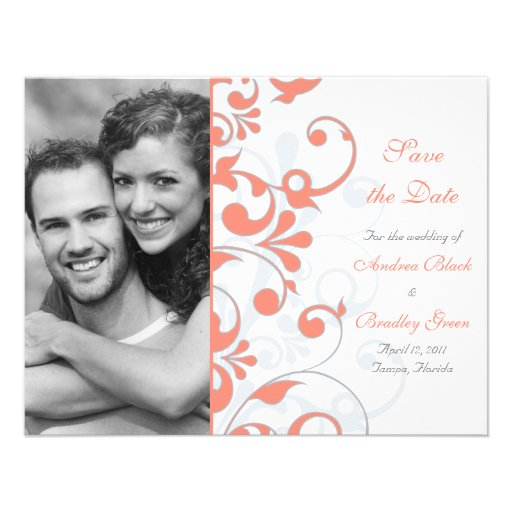 Abstract Floral Save the Date Card Custom Announcements