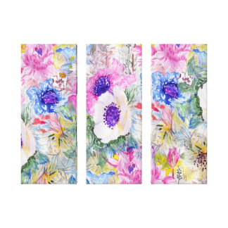 Abstract floral sketch watercolor hand paint canvas print