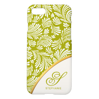 Abstract Floral Spring Green Ladies Monogram iPhone 8/7 Case