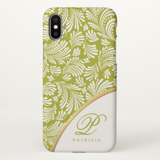 Abstract Floral Spring Green Ladies Monogram iPhone X Case
