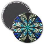 Abstract Floral Stained Glass 2 3 Inch Round Magnet