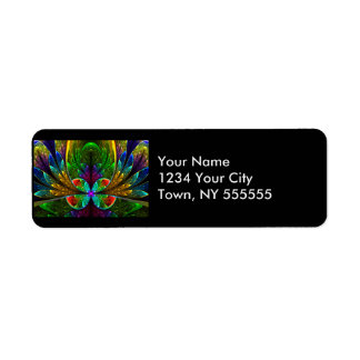 Abstract Floral Stained Glass Pattern Return Address Label