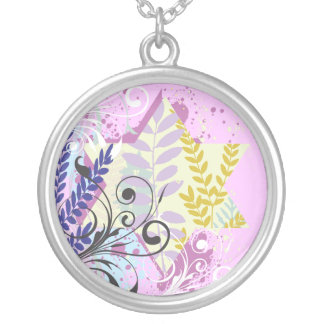ABSTRACT FLORAL STAR Bat Mitzvah Keepsake Memory Silver Plated Necklace