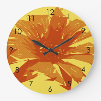 Abstract Floral Summer Duotone Large Clock