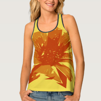 Abstract Floral Summer Duotone Tank Top