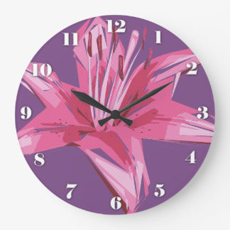 Abstract Floral Summer Lily Large Clock