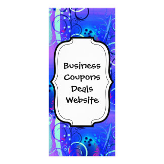 Abstract Floral Swirl Blue Purple Girly Gifts Rack Card Design