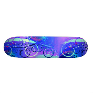 Abstract Floral Swirl Blue Purple Girly Gifts Skateboard