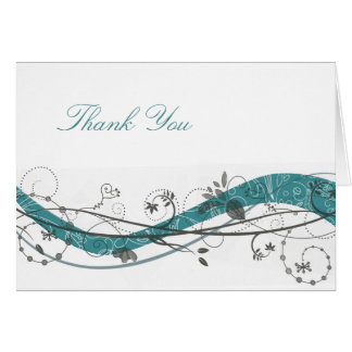 Abstract floral & swirl - Teal & brown Card