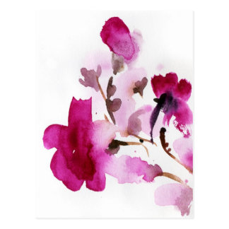 Abstract floral watercolor paintings 4 postcard