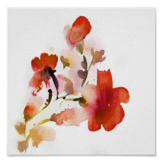 Abstract floral watercolor paintings poster