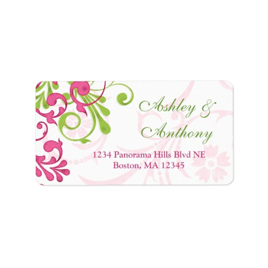Abstract Floral Wedding Address Mailing Label