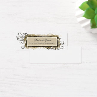 Abstract Floral Wedding Website Mini Business Card