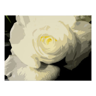 Abstract Floral - White Rose Golden Glow 3169 Poster