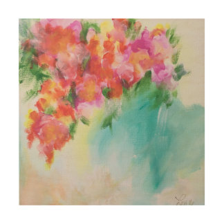 Abstract Floral Wood Panel Wood Canvases