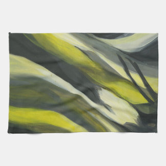 Abstract Flow - Yellow Grey Kitchen Towel