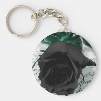 Abstract Flower Black Rose Letter Basic Round Button Keychain