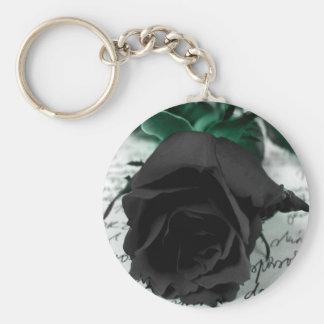 Abstract Flower Black Rose Letter Keychain