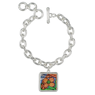 Abstract Flower Colorful Charm Bracelet