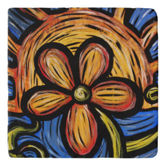 Abstract Flower Colors In Motion Trivet