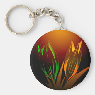 Abstract Flower Colours Of The Tulip Basic Round Button Keychain