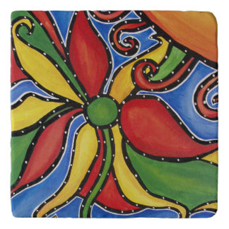 Abstract Flower In Sun Colorful Trivet