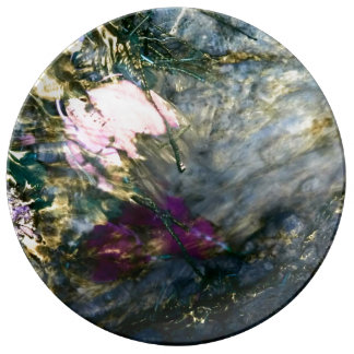Abstract Flower in Water Plate