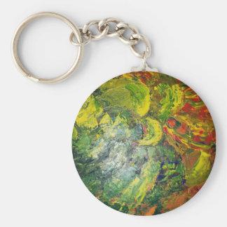 Abstract Flower Basic Round Button Keychain