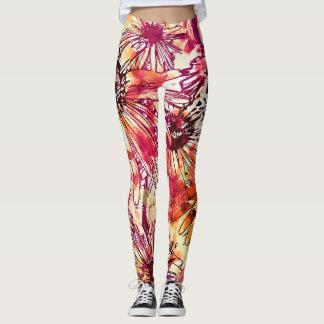Abstract flower paintings Leggings